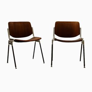 Wood & Metal Chairs by Giancarlo Piretti for Castelli, 1970s, Set of 2