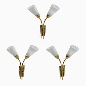 Lámparas de pared de latón, años 70. Juego de 3