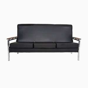 Vintage Black Vinyl Sofa by Rob Parry, 1960s