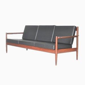 Sofá de palisandro y vinilo negro, años 60