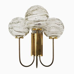 Lampada da parete in ottone e vetro a bolle di Doria Leuchten, anni '50