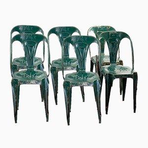 Sedie impilabili vintage industriali di Joseph Mathieu per Multipl's, anni '30, set di 6
