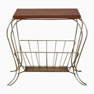 Vintage Magazine Rack with Table, 1950s