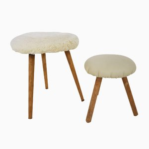 Vintage Sheepskin & Leather Stools, Set of 2
