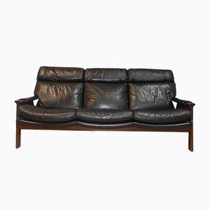 Vintage 3-Sitzer Sofa aus Palisander & Leder