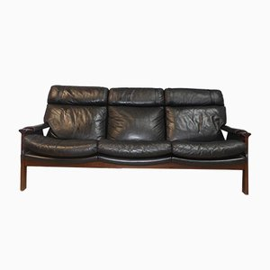 Vintage Three-Seater Rosewood and Leather Sofa
