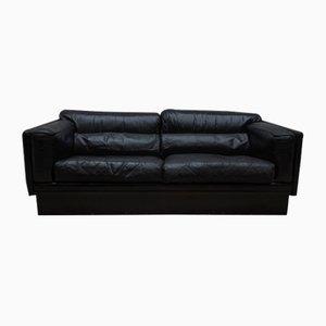Sofá de cuero negro de Durlet, años 70