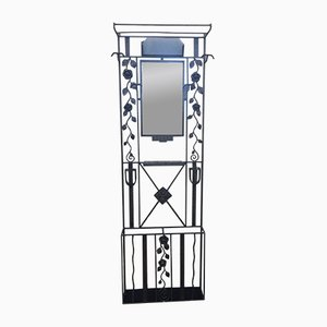 Art Deco Wrought Iron Coat Rack with Mirror, 1930s