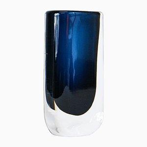 Vaso blu notte in vetro di Nils Landberg Orrefors, anni '60