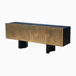 Acid Etched Four-Door Brass Sideboard by Felix de Boussy for Belgali, 1980s