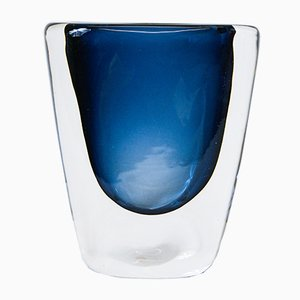 Midnight Blue Glass Vase by Nils Landberg for Orrefors, 1960s