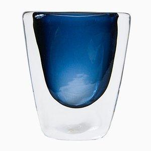 Vaso nr. 3953/3 blu notte in vetro di Nils Landberg per Orrefors, anni '60