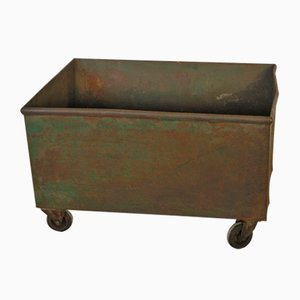 Vintage Industrial Metal Container with Wheels