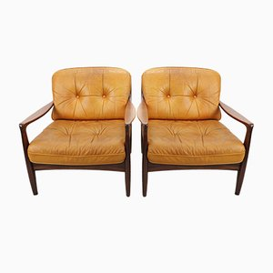 Vintage Cognac Leather Lounge Chairs, 1960s, Set of 2