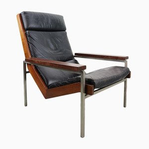 Black Leather Lotus Armchair by Rob Parry for De Ster Gelderland, 1960s