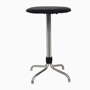 Metal Stool with Black Vinyl Upholstery from Brabantia, 1960s