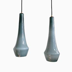 Lámparas colgantes danesas en gris oscuro de Jacob E. Bang para Fog & Mørup, años 50. Juego de 2