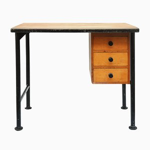 Small French Maple & Steel Desk, 1940s