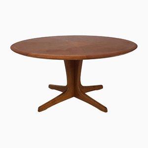 Tavolino da caffè grande rotondo in legno intarsiato di N. O. Møller, anni '60
