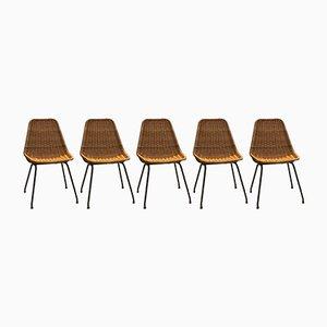 Wicker Dining Chairs by Dirk van Sliedregt for Rohé Noordwolde, 1960s, Set of 5