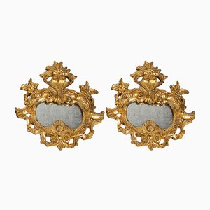 Vergoldeter geschnitzter Vintage Spiegel im Louis XV Stil, 1960er, 2er Set