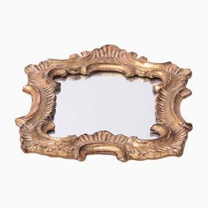 Espejo Mid-Century tallado a mano dorado