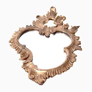 Mid-Century German Hand Carved Mirror with Gold Leaf Frame, 1950s