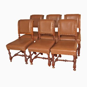 Vintage Oak Dining Chairs with Brown Leather Seats, 1920s, Set of 6