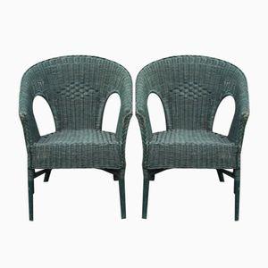 Grüne Vintage Sessel aus Korbgeflecht, 1930er, 2er Set