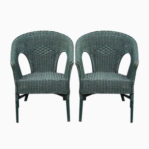 Vintage Green Wicker Armchairs, 1930s, Set of 2
