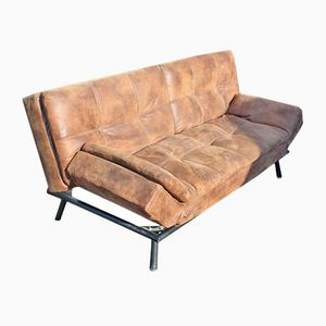 Mid-Century Brown Leather Studio Couch, 1960s