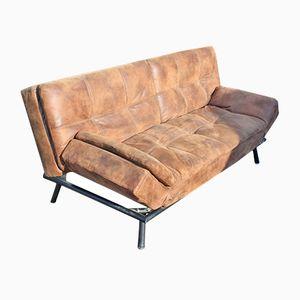 Mid-Century Studio Sofa aus braunem Leder, 1960er
