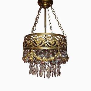 Lampadario in cristallo dorato, anni '20