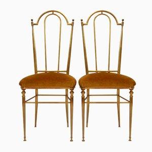 Italienische Mid-Century Chiavari Esszimmerstühle, 1950er, 2er Set