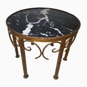 Mesa de centro vintage de mármol y metal dorado