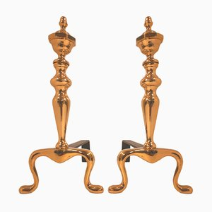 Metal & Bronze Andirons, 1970s, Set of 2