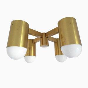 Lampada industriale vintage in ottone, anni '70