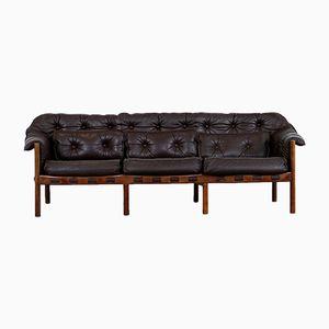 Mid-Century 3-Sitzer Sofa aus Teak & Leder von Arne Norell für Coja, 1960er