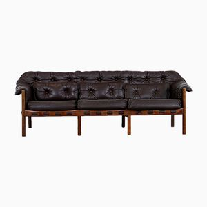 Mid-Century Teak & Leather 3-Seater Sofa by Arne Norell for Coja, 1960s