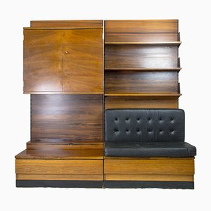Rosewood Wall Unit with Leather Bench from Swissform, 1980s