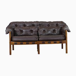 Mid-Century 2-Sitzer Sofa aus Teak & Leder von Arne Norell für Coja