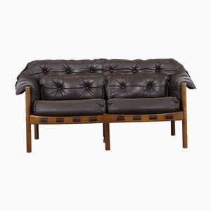 Mid-Century Teak & Leather 2-Seater Sofa by Arne Norell for Coja