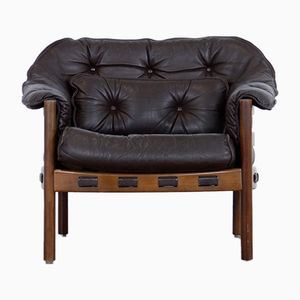 Mid-Century Teak & Leather Lounge Chair by Arne Norell for Coja