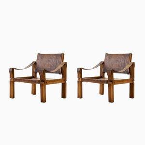 Cognac Leather and Oak S10 Easy Chairs by Pierre Chapo, 1960s, Set of 2