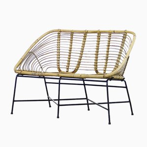Italian Wicker and Iron Patio Settee, 1960s