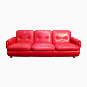 Lombardia Red Leather Sofa by Risto Halme for IKEA, 1970s