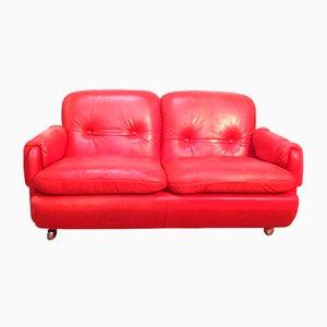 Sofá Lombardia de cuero rojo de Risto Halme para IKEA, años 70