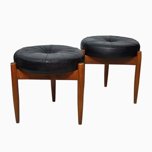 Vintage Tripod Leather and Wood Stools, 1970s, Set of 2