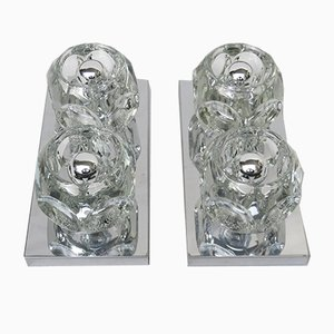 Cubist Chrome & Glass Ceiling or Wall Sconces from Peill & Putzler, 1960s, Set of 2