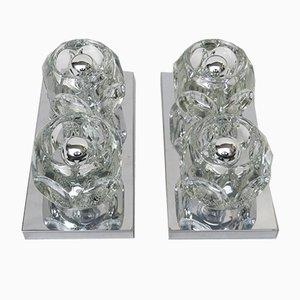 Lampade da parete o da soffitto cubiste in metallo cromato e vetro di Peill & Putzler, anni '60, set di 2